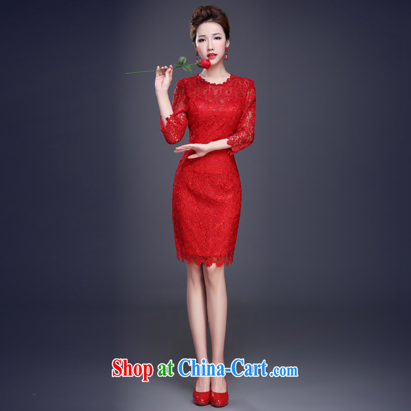 Cheng Kejie MIA toast serving dresses 2015 new summer red bridal wedding dress short small banquet dress evening dress girl red XXL