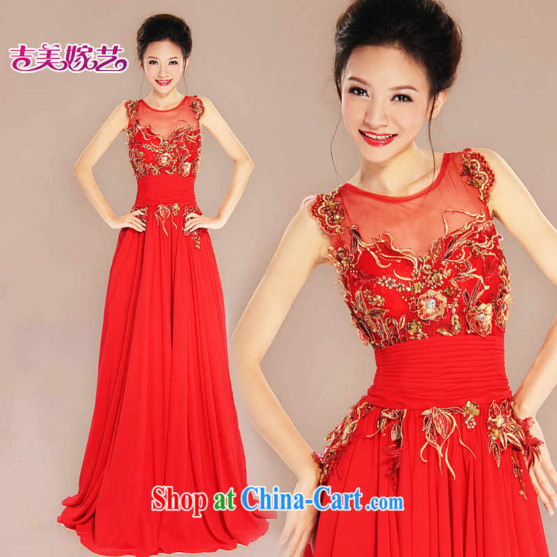 wedding dresses, marry us performing arts 2015 new dual-shoulder Korean bridal dresses LS beauty 7033 bridal gown red 6#