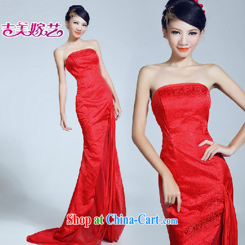 wedding dresses Jimmy married arts 2015 New Beauty video thin tail dress LT 6030 bridal gown red XL