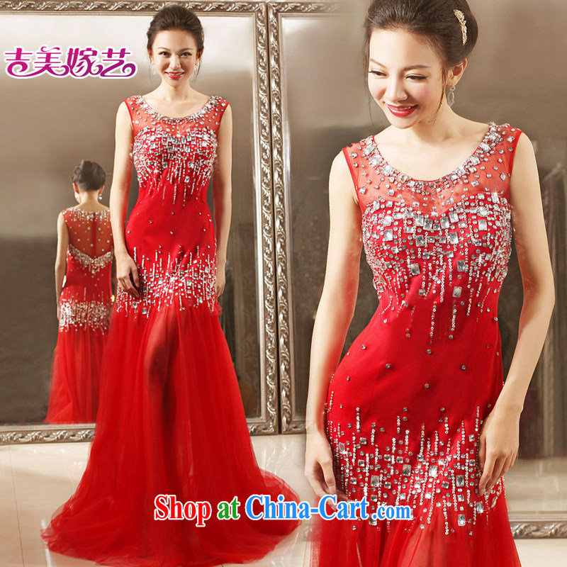 wedding dresses Jimmy married arts 2015 new shoulders Korean dress LS 7300 with bridal gown red S