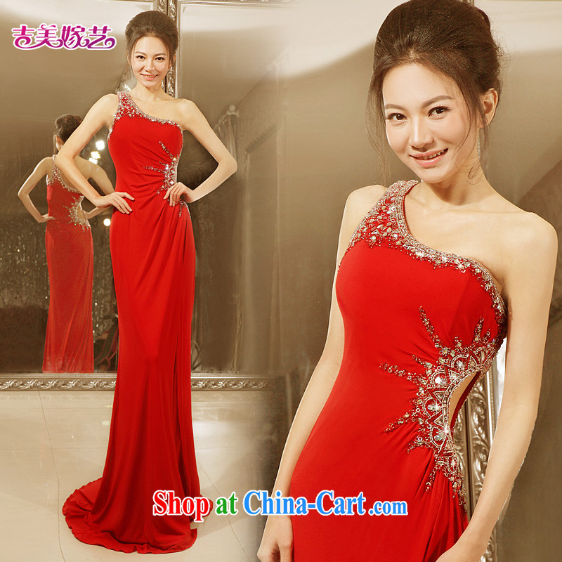 wedding dresses Jimmy married arts 2015 new single shoulder Korean dress LT 7191 tail bridal dresses red L