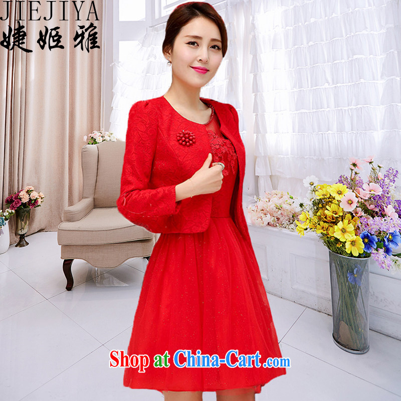 With Ji Ya 2015 new Openwork embroidery dress dress two-piece toast serving the door red bridesmaid clothing red XXL