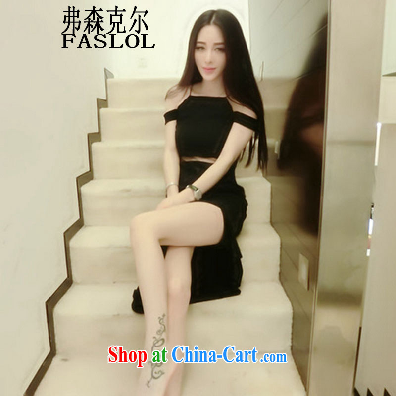 Frank, Michael the payment sexy night side the forklift truck beauty dress long skirt Evening Dress 1113 black L