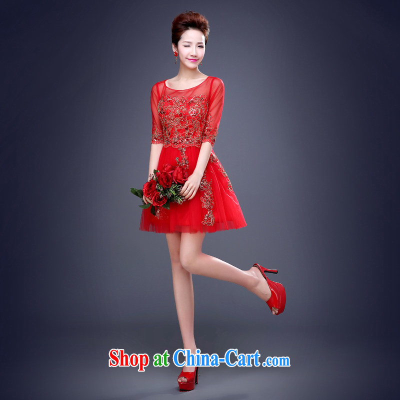 Cheng Kejie MIA toast serving short summer 2015 new marriages a Field shoulder red wedding dresses the wedding banquet dress female Red XXL cuff