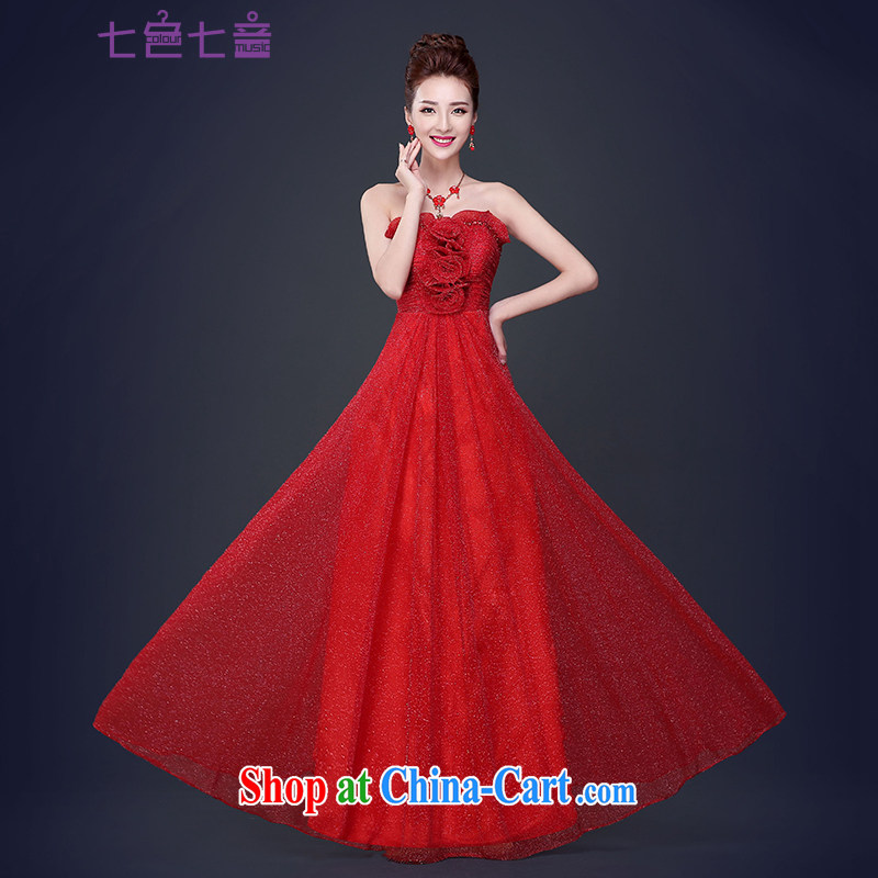 7 color 7 tone 2015 new bride toast serving summer long wedding wedding dress short erase chest dress beauty red female L 046 red long M
