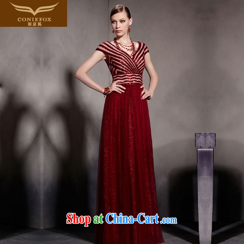 Creative Fox Evening Dress New Red bows dress V deep sense of fall dress long skirt wedding dress welcome dress dress presided over 30,580 red XXL