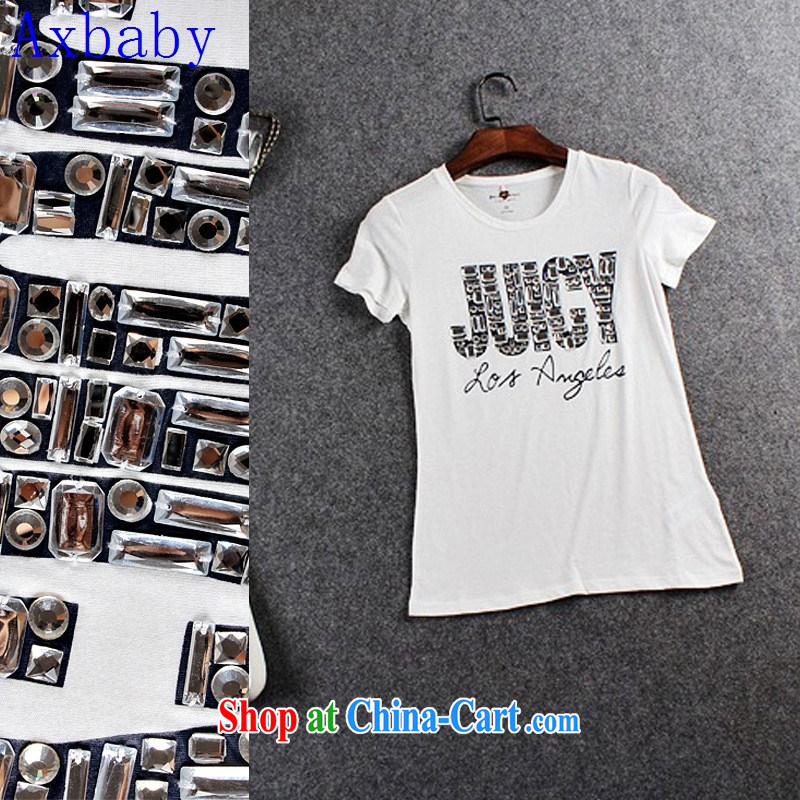 Axbaby European site to the nails beauty Pearl River Delta T-shirt 2015 spring and summer new dress dress white L