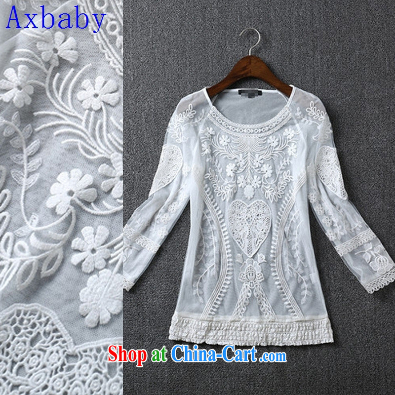 double-decker Axbaby Web yarn and embroidery cultivating long-sleeved T-shirt 2015 spring and summer new dress dress white L