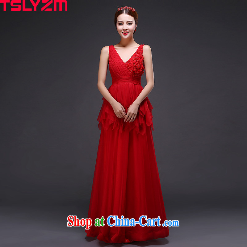 Tslyzm bridal high waist bows serving double-shoulder lace dress long 2015 new V brought back exposed wood drill video thin pregnant snow woven skirt red XXL