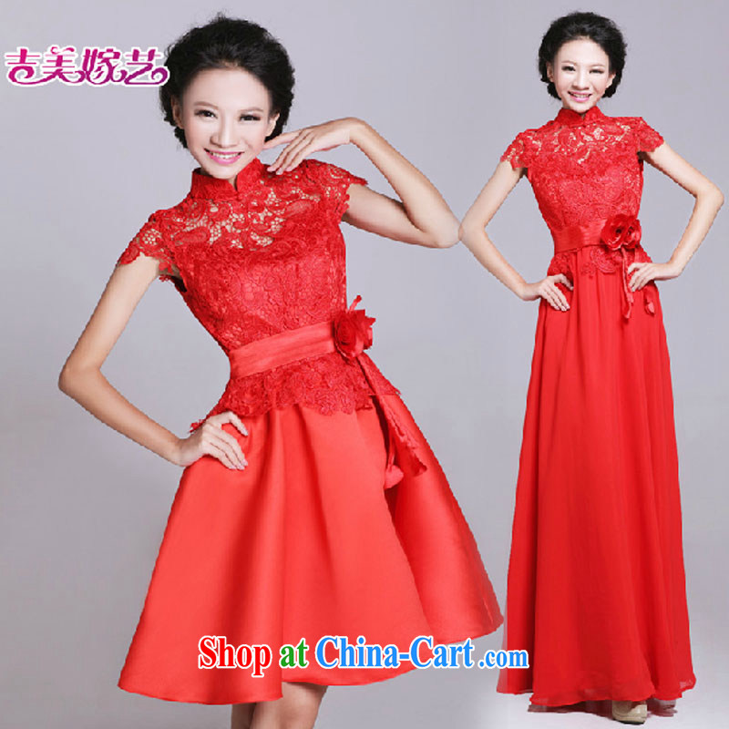Bridal wedding dresses small improved stylish bows service 2015 New Red 6021 retro lace short cheongsam long XXL