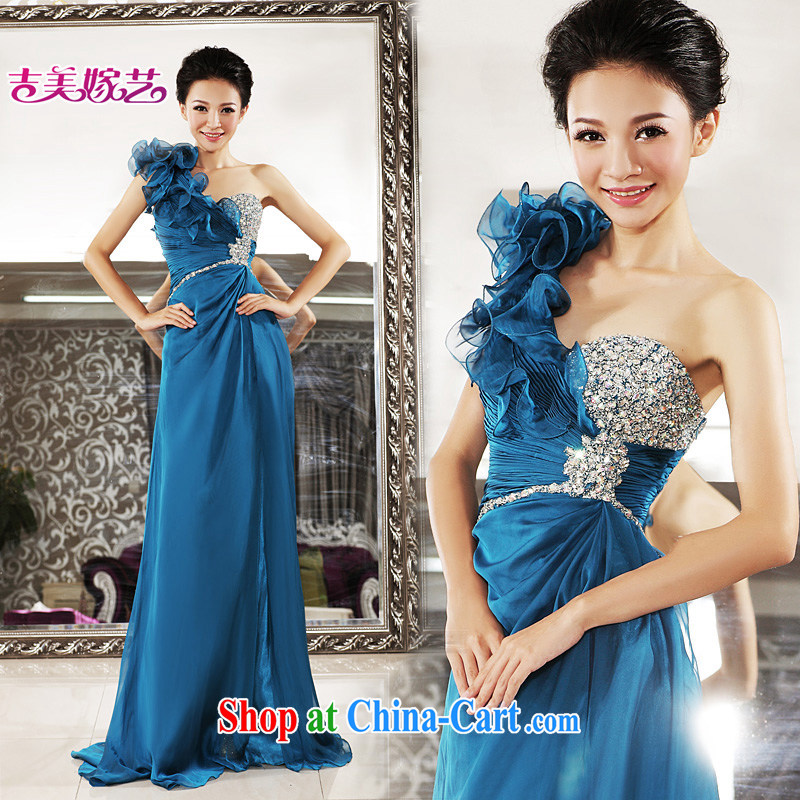 wedding dresses, marry us performing arts 2015 new single shoulder Korean bridal gown tail LT 7112 bridal gown blue 4#