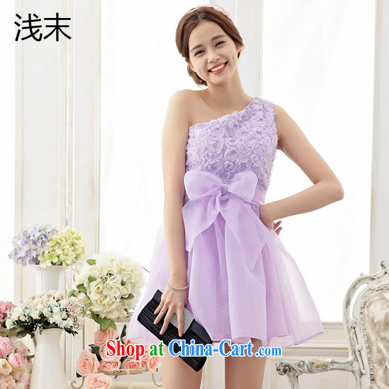 Shallow end (QIAN MO) sweet roses embroidered single shoulder Butterfly The root yarn shaggy dress Princess dress dress 6705 purple XXL
