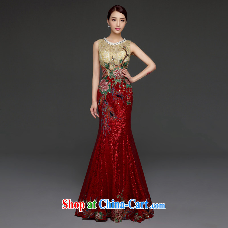 Snow Lotus bows clothing stylish bridal red wedding toast serving long crowsfoot dress beauty dress new 2015 summer color into red XL