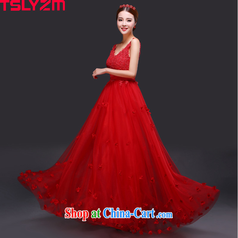 Tslyzm bridal lace bows serving his shoulders back exposed water drill dress long 2015 new summer waist graphics thin pregnant women high waist moderator women dress red XXL
