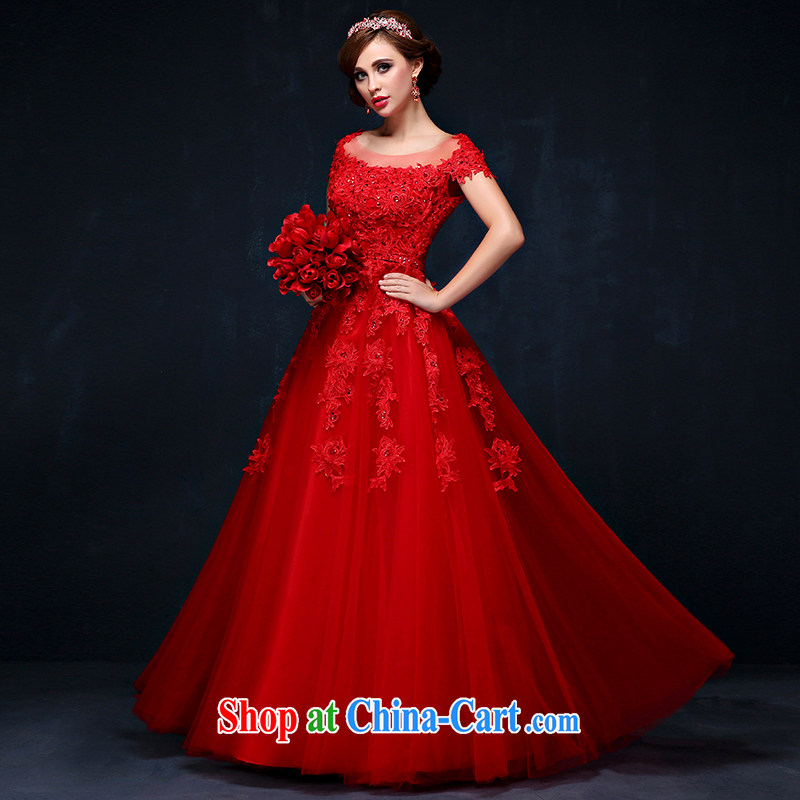 The field shoulder Evening Dress 2015 new summer Korean-style lace bridal toast serving large, red, cultivating a strap wedding red XL (waist 2.3)