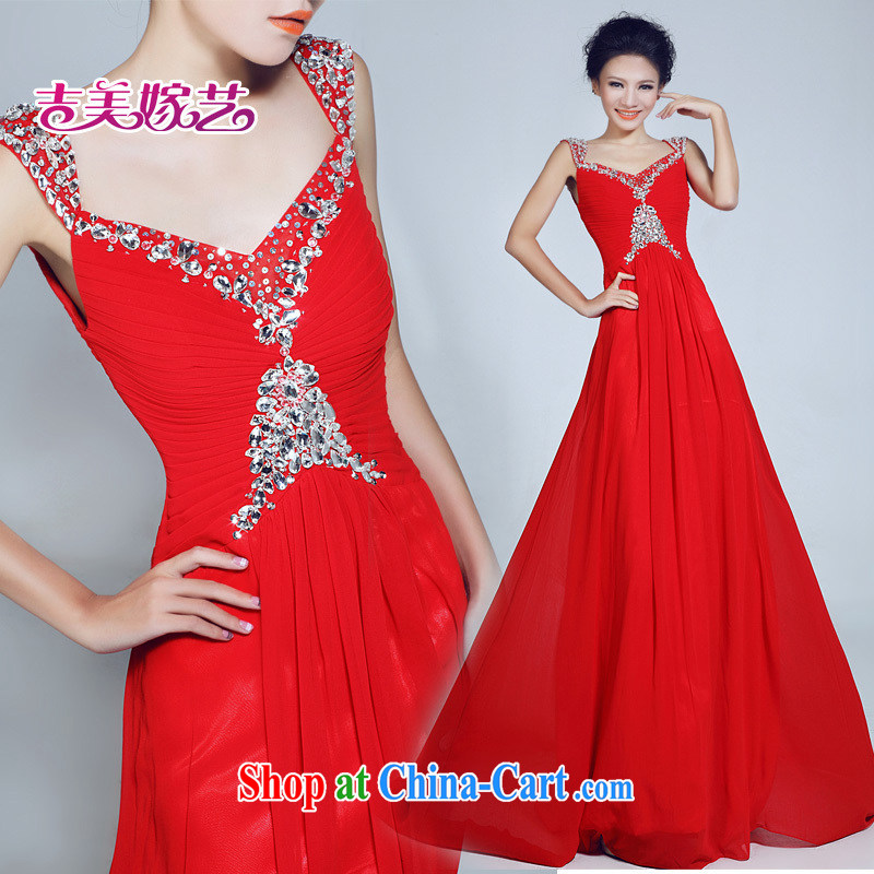 wedding dresses Jimmy married arts 2015 new shoulders Korean bridal gown tail LT 6035 bridal gown red XL