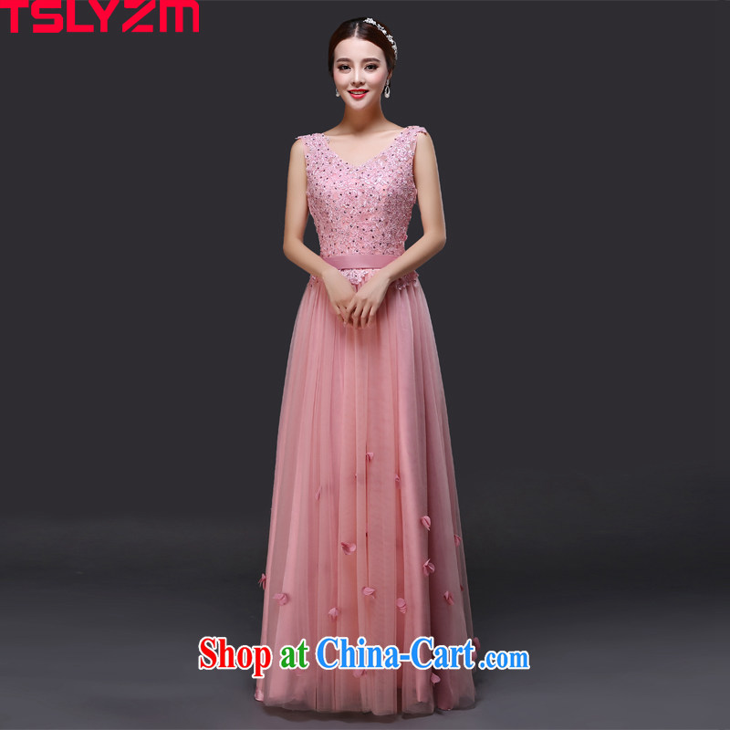 Tslyzm dress long shoulders V collar red 2015 new bridesmaid service banquet beauty video gaunt waist snow woven evening gown girls ��ɳ toner XXL