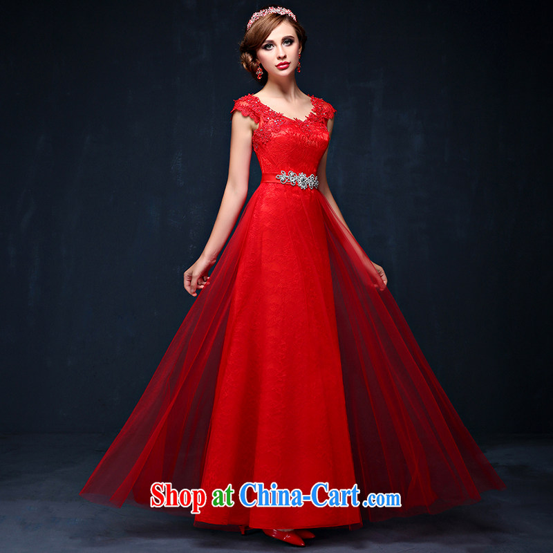 bridal dresses summer 2015 New Red double-shoulder-length marriage, toast the service code beauty banquet dress red XXL (waist 2.4)