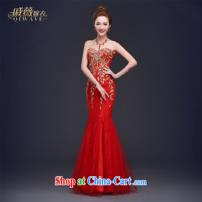 Qi wei summer 2015 new wedding dresses bare chest crowsfoot bows. Stylish beauty bridal wedding dress long zipper dress female Red XXL