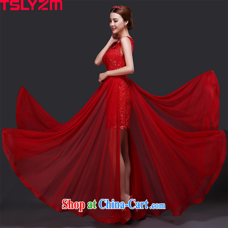 Tslyzm bride toast wedding dress long 2015 new toast summer uniform shoulders graphics thin lace Korean-style banquet dress Red Red XXL