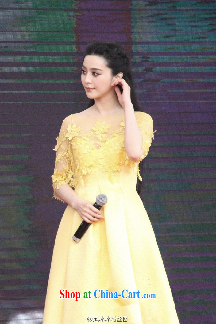 Abundant Ming 2015 summer stars, with three-dimensional flower Openwork lace large dress skirts, long yellow dress yellow XL pictures, price, brand platters! Elections are good character, the national distribution, so why buy now enjoy more preferential! Health