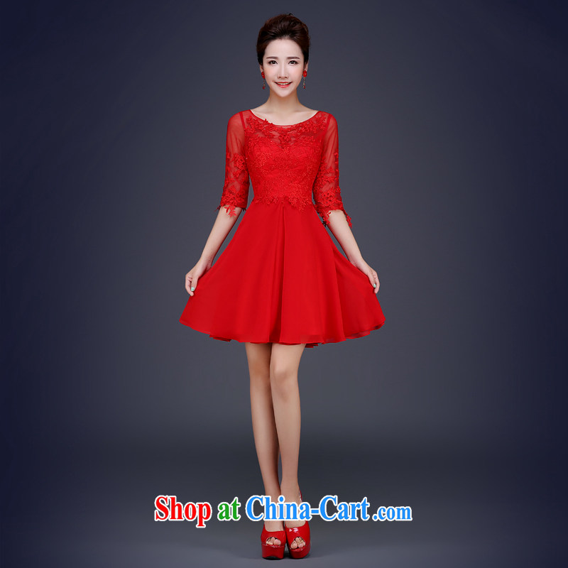Cheng Kejie MIA 2015 new summer short, red bows in his sleeve bridal wedding banquet dress bridesmaid clothing fashion the waist red XXL