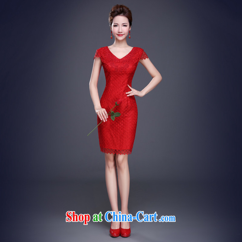 Jie MIA 2015 new toast Service Bridal Fashion summer wedding dresses short dresses, cultivating red lace girl cheongsam red XXL