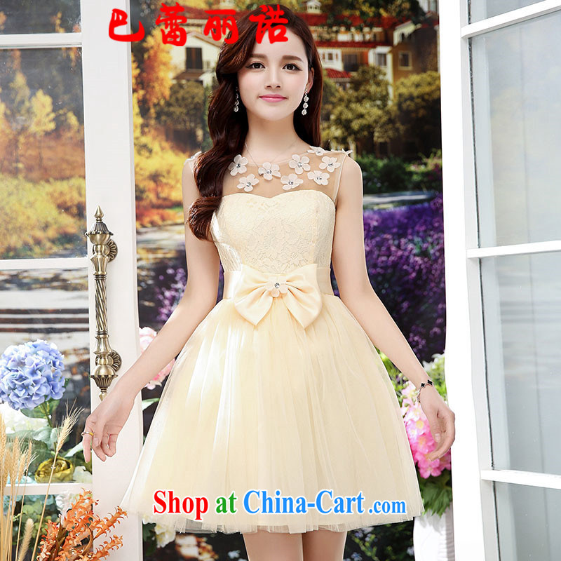 The Ballet, The 2015 new bowtie bridal stylish champagne color short marriage bridesmaid dress banquet dress sleeveless short dress apricot XL