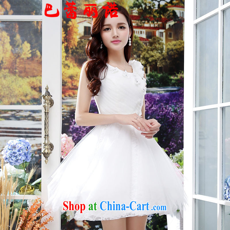 The Ballet, The 2015 new Princess chest blossoms, the root yarn back exposed bows dress banquet service shaggy dress sleeveless dresses white XL