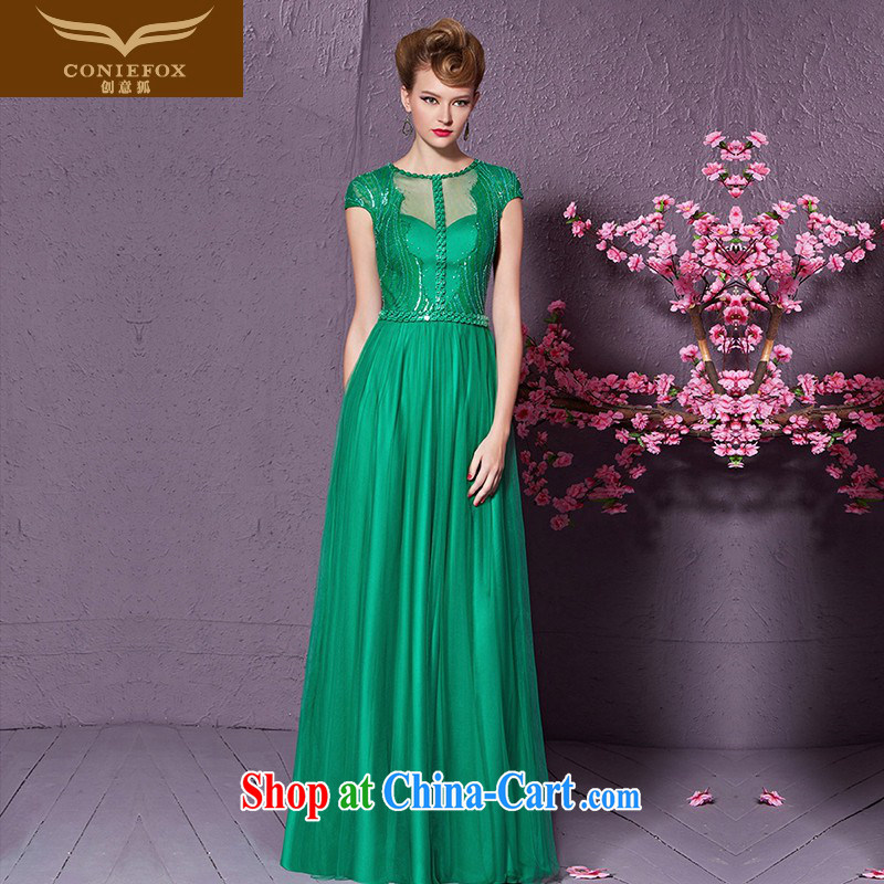 Creative Fox 2015 new stylish, package shoulder Evening Dress Evening Dress dress long, cultivating the annual dress uniform toast 30,898 green XXL