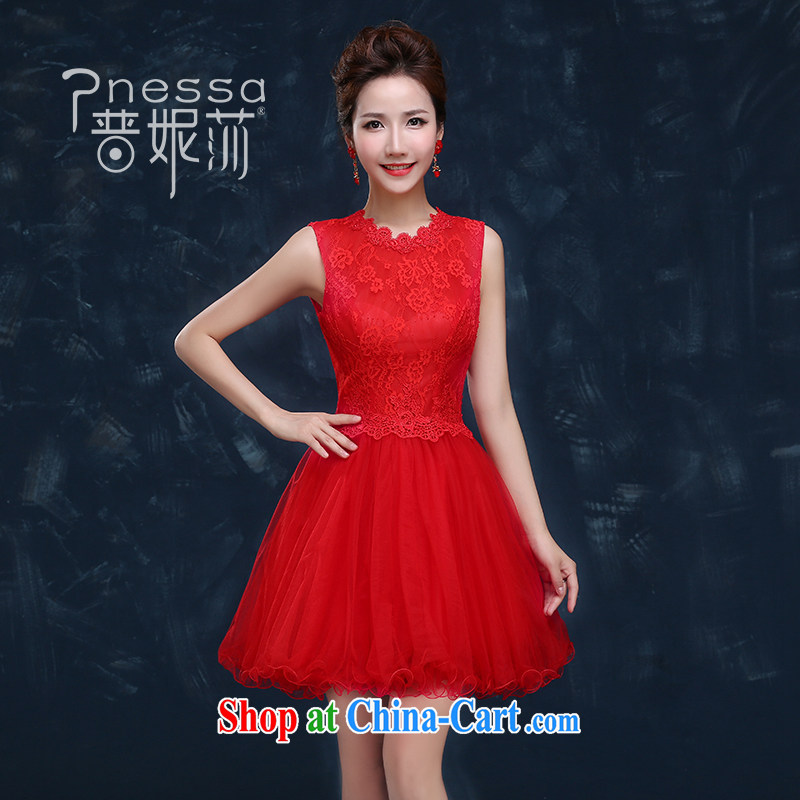 The Vanessa bridal toast serving short summer 2015 new wedding dress shoulders red banquet dress bridesmaid clothing female small red XXL