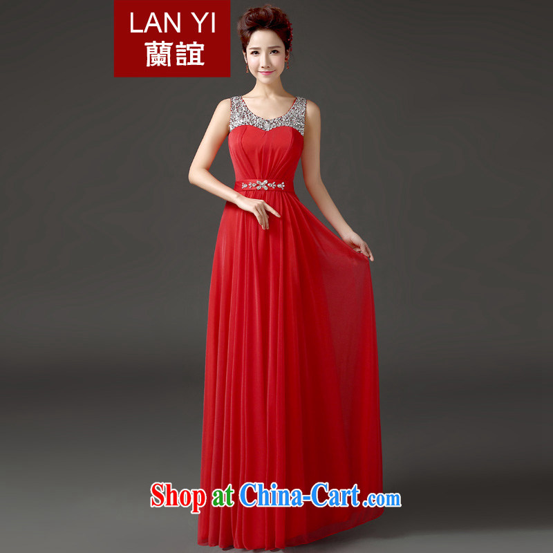 Friends, summer 2015 new bride wedding dress toast serving Korean video thin shoulders fall red evening dress Banquet Hosted Service Performance red XXL code waist 2.3 feet