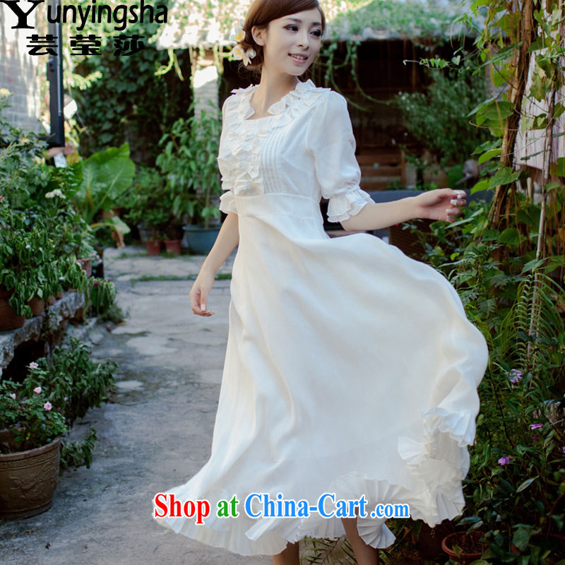 Soon Elizabeth Anna 2015 summer new, flouncing before long, small fresh flower fairies dress dresses female L 9430 white XL