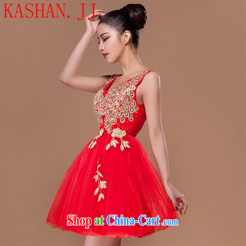 The-hwan, summer 2015 new bride small dress short dress skirt show marriage toast clothing bridesmaid dress red XL