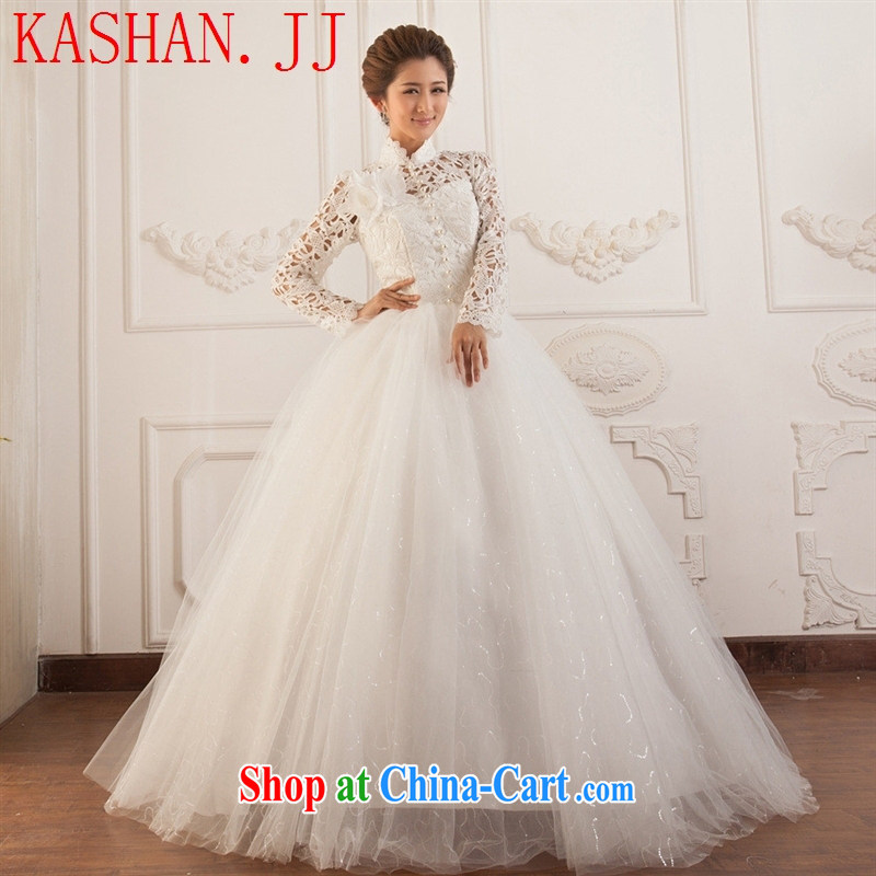 The Hwan, summer 2015 new long-sleeved Openwork lace wedding Pearl bridal wedding dress tie wedding dress white XL