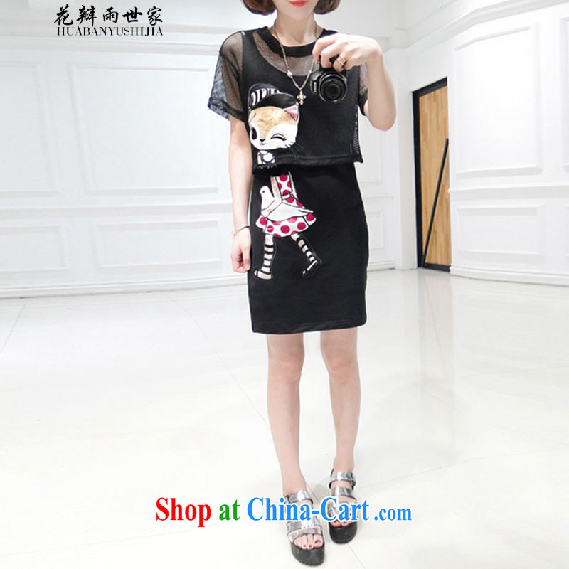 Flower Petals rain saga should be summer female new Korean kitten short-sleeved T-shirt dresses two kits for 335 A 100,933 black S