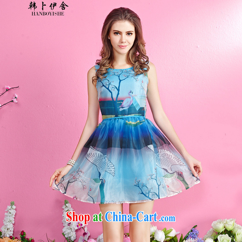 Korea, the Academic Building New female idyllic stamp vest skirt sleeveless beauty shaggy dresses generation 263652170 blue XL