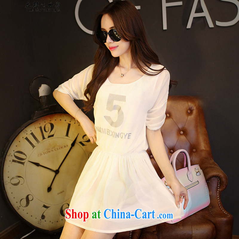 Petals rain family seek summer round-style lounge snow woven dresses stamp loose dresses and 511142532 white S