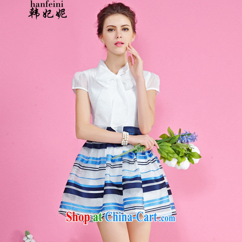 Korean Princess Anne in Europe new summer European root yarn stitching streaks stamp bubble cuff dress generation 263652285 blue S