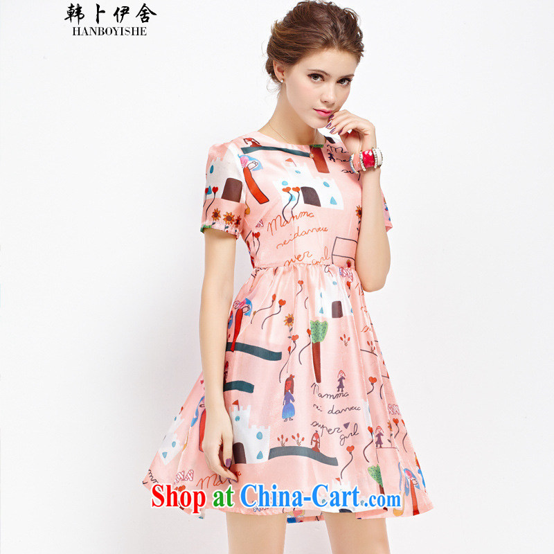 Korea, the Academic Building new European root yarn cartoon graffiti stamp duty in cultivating long shaggy dresses generation 263653765 floral M