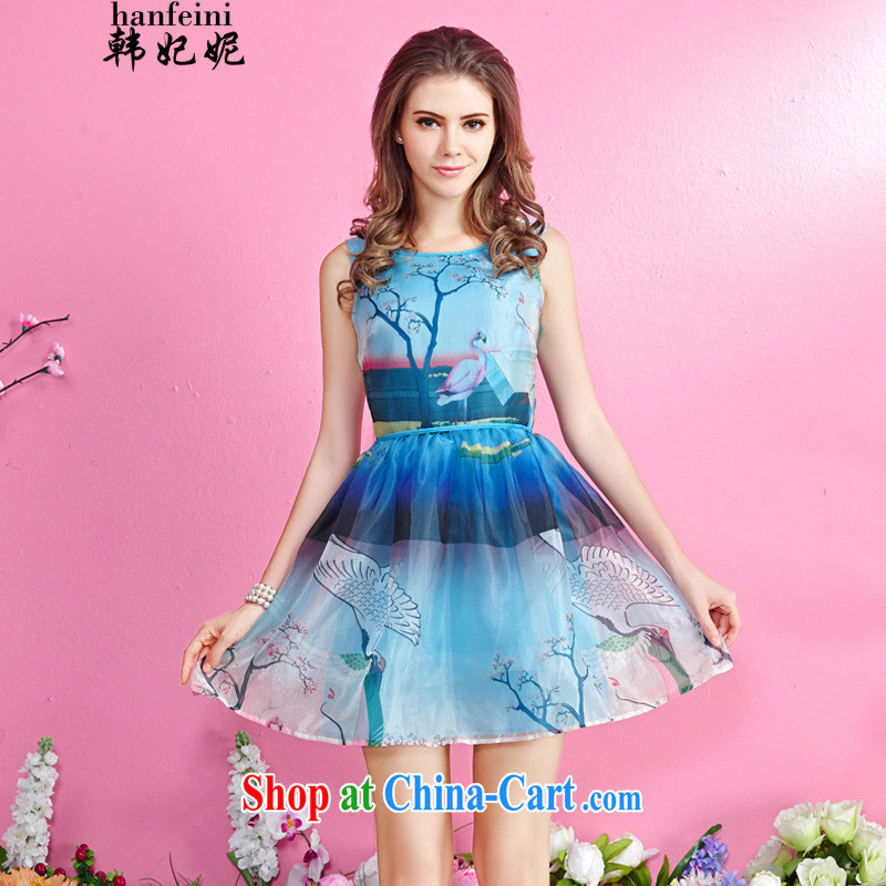 Korean Princess Anne new female idyllic stamp duty vest skirt sleeveless beauty shaggy dresses generation 263652170 blue XL