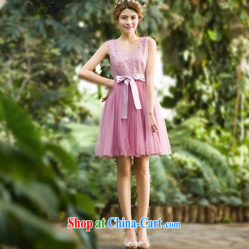 Petals rain family seek summer ladies dress in V collar sleeveless dresses large skirt generation 263652060 pink XL