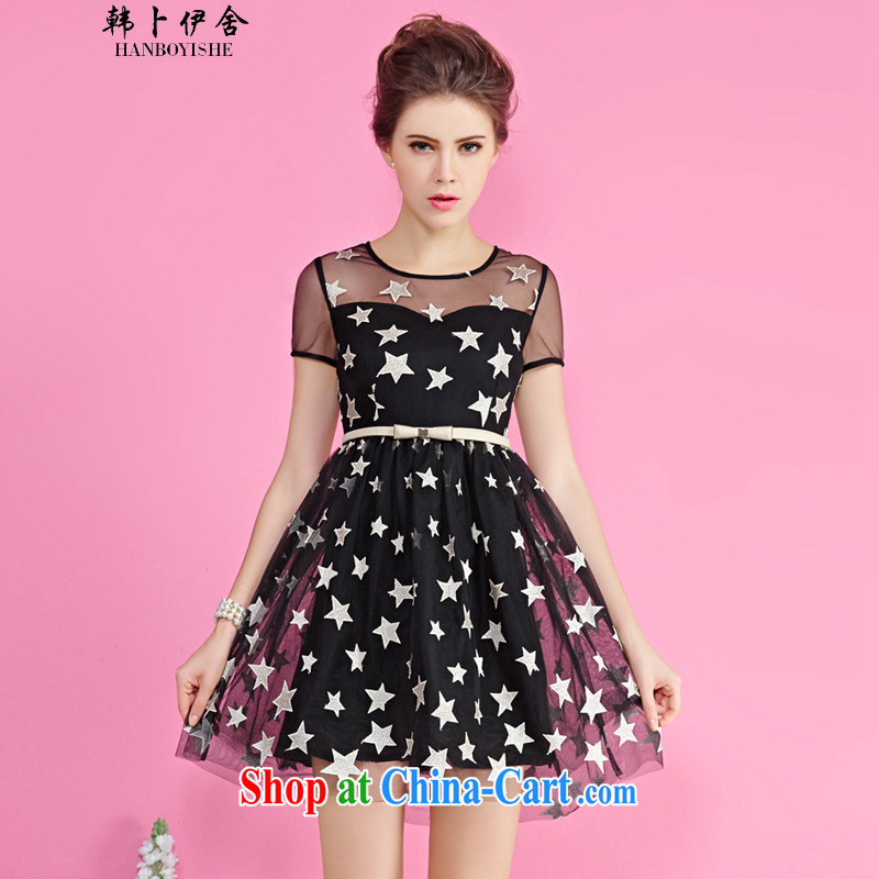 Korea, the rounded Summer Siege new stars in Europe and America, Europe and the yarn embroidery short sleeve short skirts generation 263653085 black S