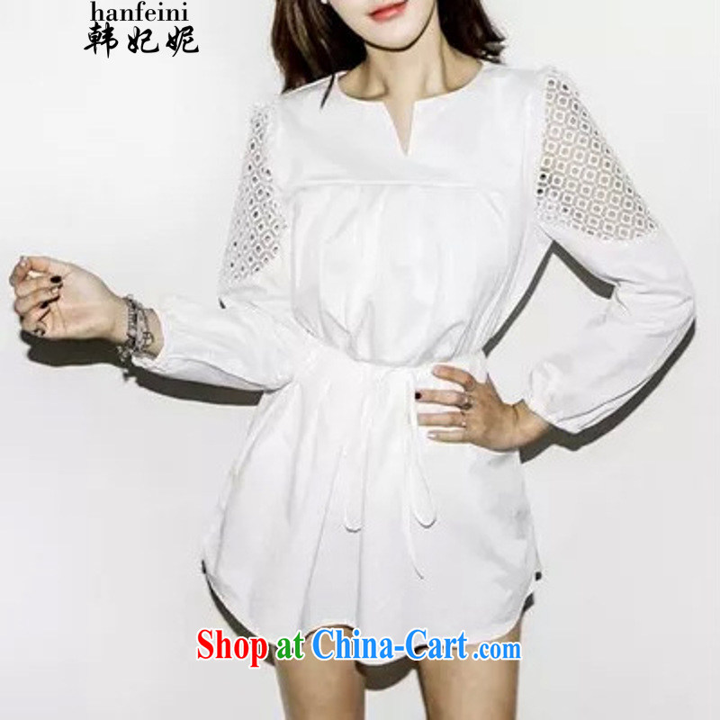Korean Princess Anne purely American Languages empty hook take bubble sleeves, belt dresses and 335 A 300,823 cream M