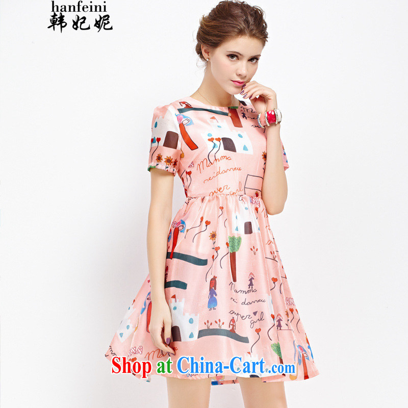Korean Princess Anne new European root yarn cartoon graffiti stamp duty in cultivating long shaggy dresses generation 263653765 floral L