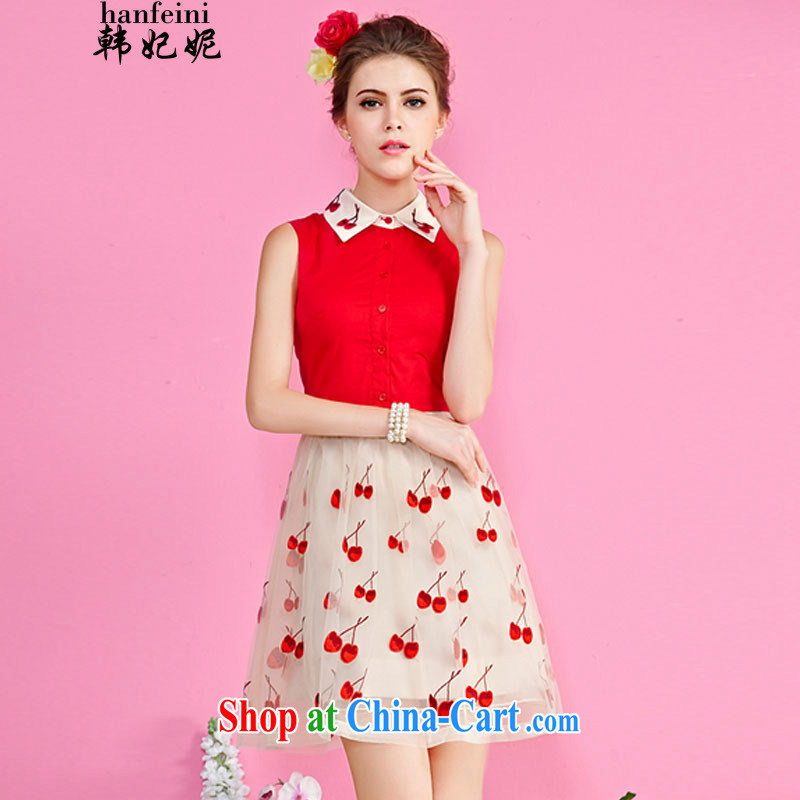 Korean Princess Anne summer high-end embroidered dresses Web yarn embroidery style beauty graphics thin shaggy skirts generation 263652780 red XL
