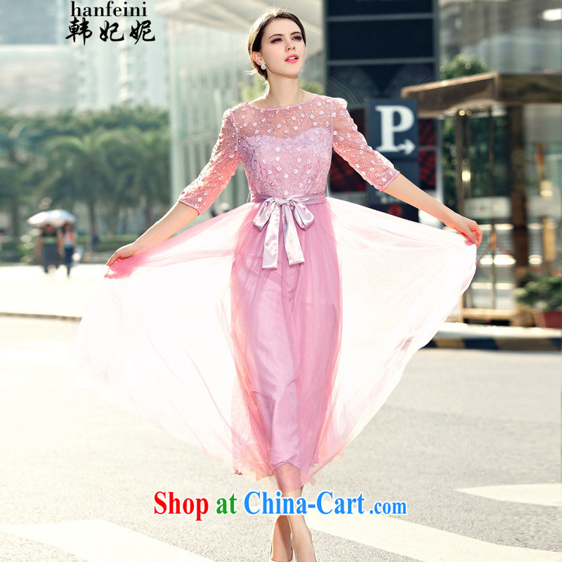Korean Princess Anne summer new lady in snow cuff woven Web yarn embroidery, long skirt large dresses generation 263651280 pink M