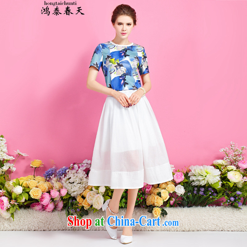 Hung Tai spring function, with stamp duty round-collar T shirt, long, two-piece dresses generation 263653670 floral XL