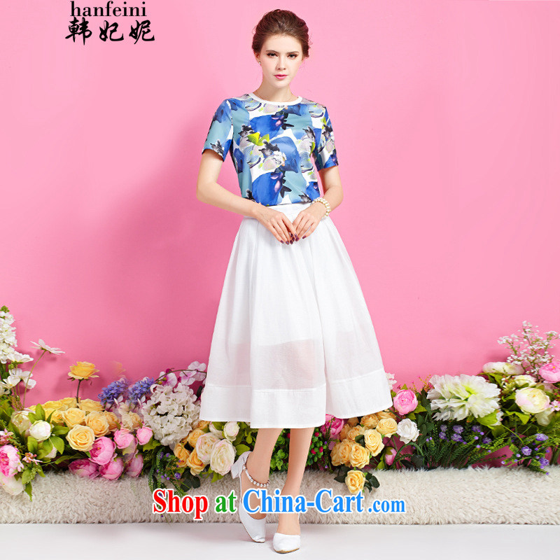 Korean Princess Anne, with stamp duty round-collar T shirt, long, two-piece dresses generation 263653670 floral M
