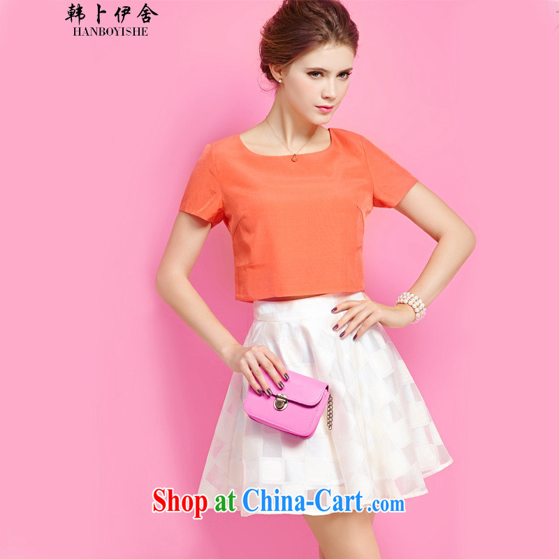Korea, the rounded academic summer leisure package and stylish graphics thin T-shirt body skirt two piece set with skirt generation 263655370 orange XL